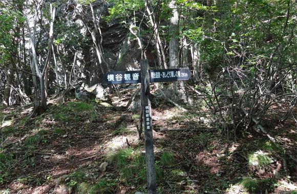王滝から横谷観音へ向かう途中の登山道