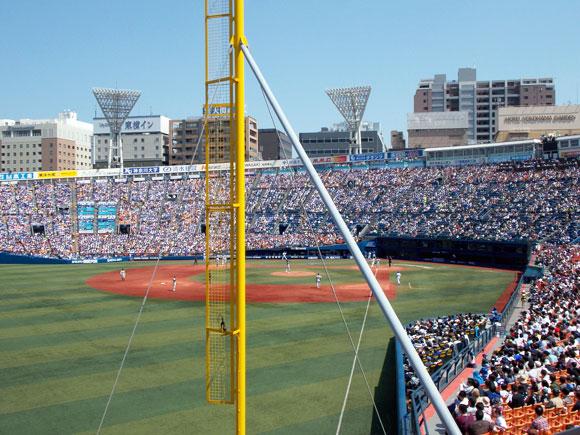 3塁側(レフト側)の外野指定席で7ゲートの26通路12段、502番-504番