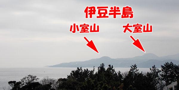 初島灯台から見た伊豆半島