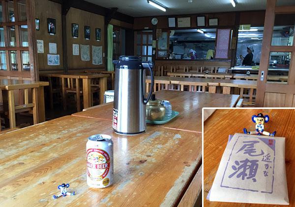 龍宮小屋の食堂で休憩