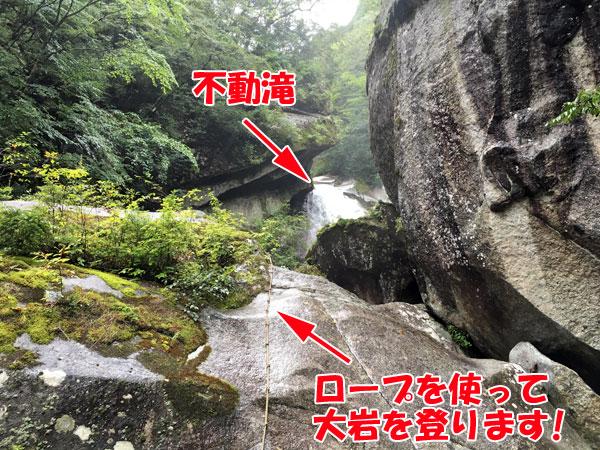 不動滝の滝壺へ向かう