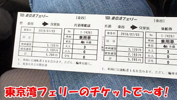 東京湾フェリー「かなや丸」のチケット