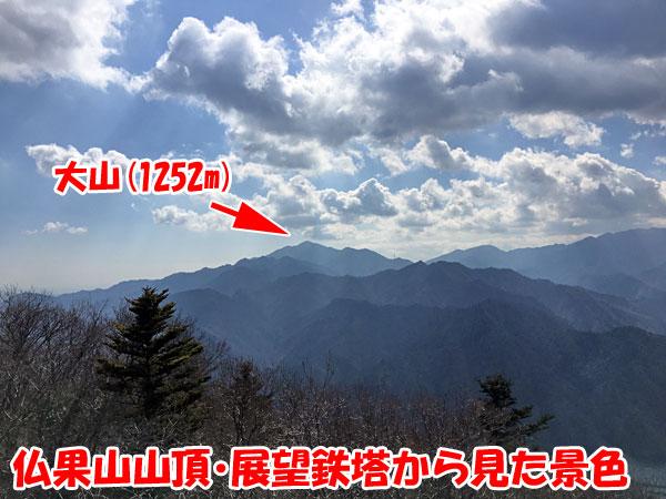 仏果山山頂の展望鉄塔からの景色(大山)