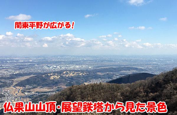 仏果山山頂の展望鉄塔からの景色(関東平野)