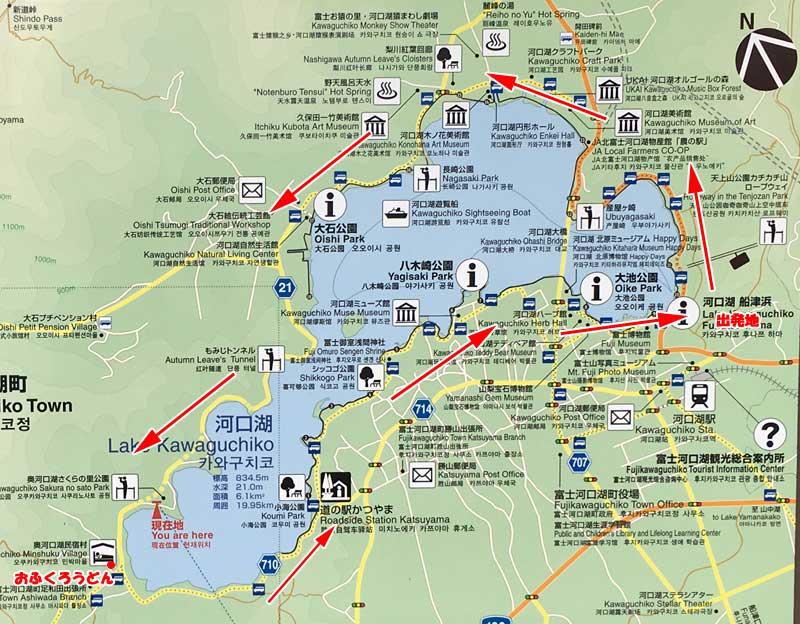 河口湖・サイクリングMAP