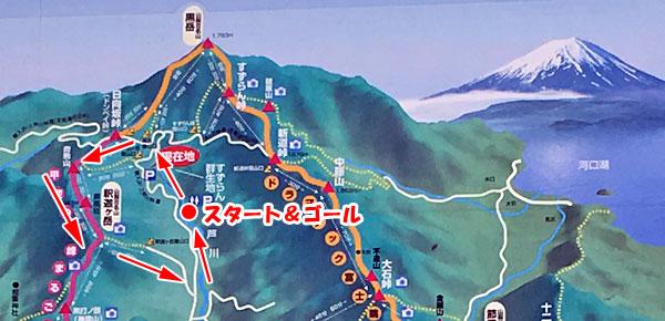 釈迦ヶ岳登山マップ