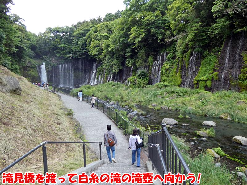 滝見橋を渡って白糸の滝の滝壺へ向かう!