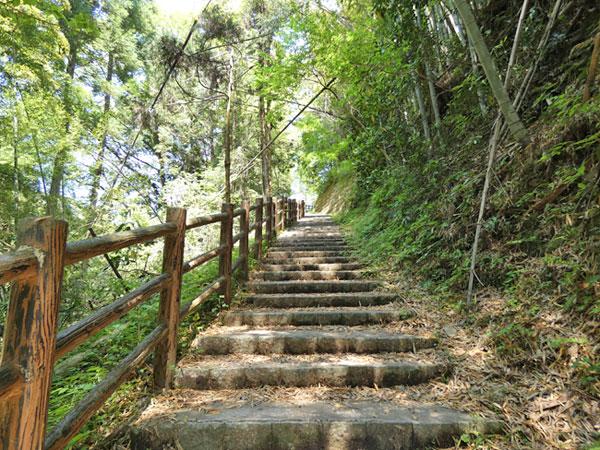 養老渓谷・滝めぐりコースの避難口4番から階段を登る