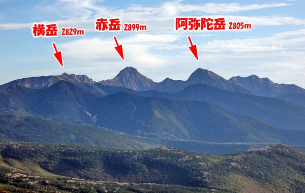 八ヶ岳の横岳、赤岳、阿弥陀岳