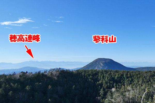 穂高連峰と蓼科山