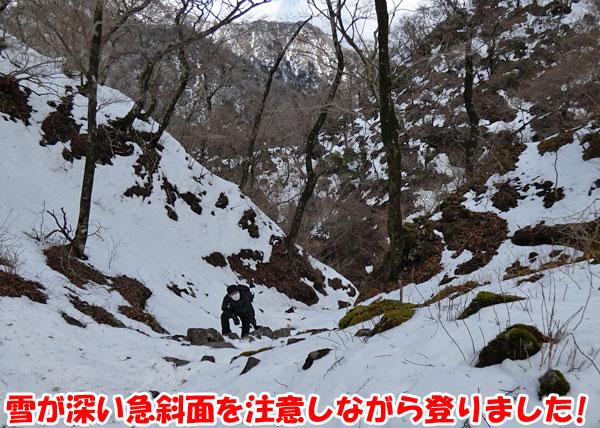 愛鷹山日帰り登山・雪が深い急斜面を注意しながら登りました!