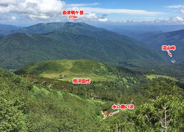 燧ケ岳登山・熊沢田代や沼山峠、会津駒ケ岳が望めました