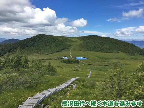 燧ケ岳登山・熊沢田代へ続く木道を進みます