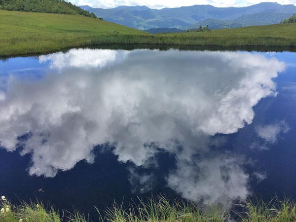 燧ケ岳登山・熊沢田代の池塘に映る白い雲