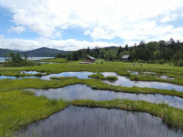 池塘が広がる湿原と沼尻休憩所