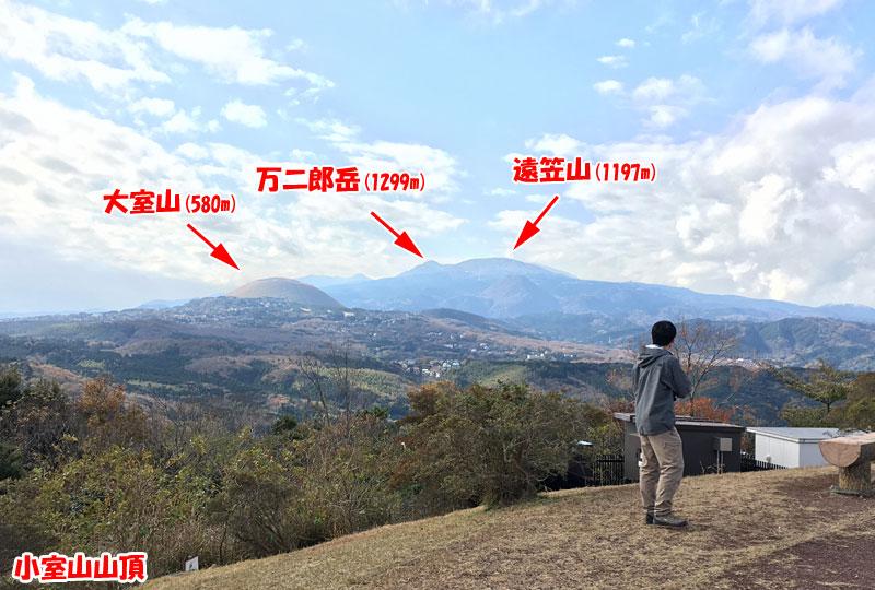 小室山山頂から大室山や万二郎岳などを望む