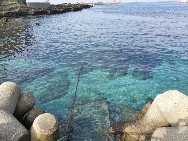 海の水の透明度に驚く