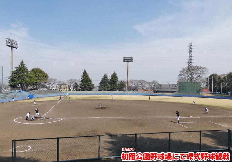 初雁公園野球場にて硬式野球観戦