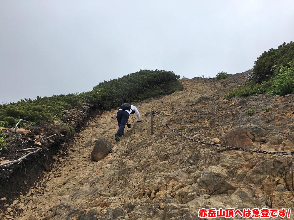 赤岳山頂へは急登です!