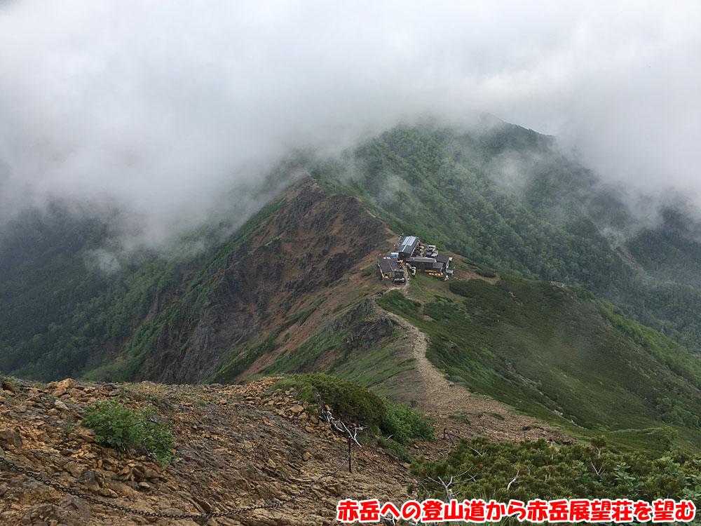 赤岳への登山道から赤岳展望荘を望む