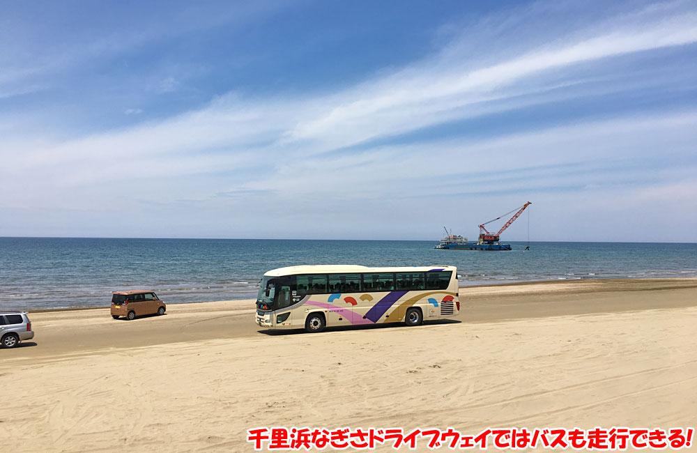 千里浜なぎさドライブウェイではバスも走行できる!