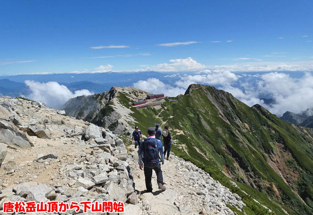 唐松岳山頂から下山開始