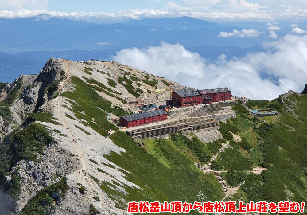 唐松岳山頂から唐松頂上山荘を望む!