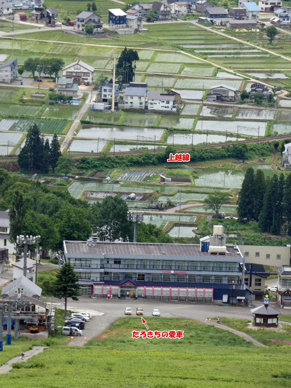 岩原スキー場から越後湯沢町の町並みを堪能