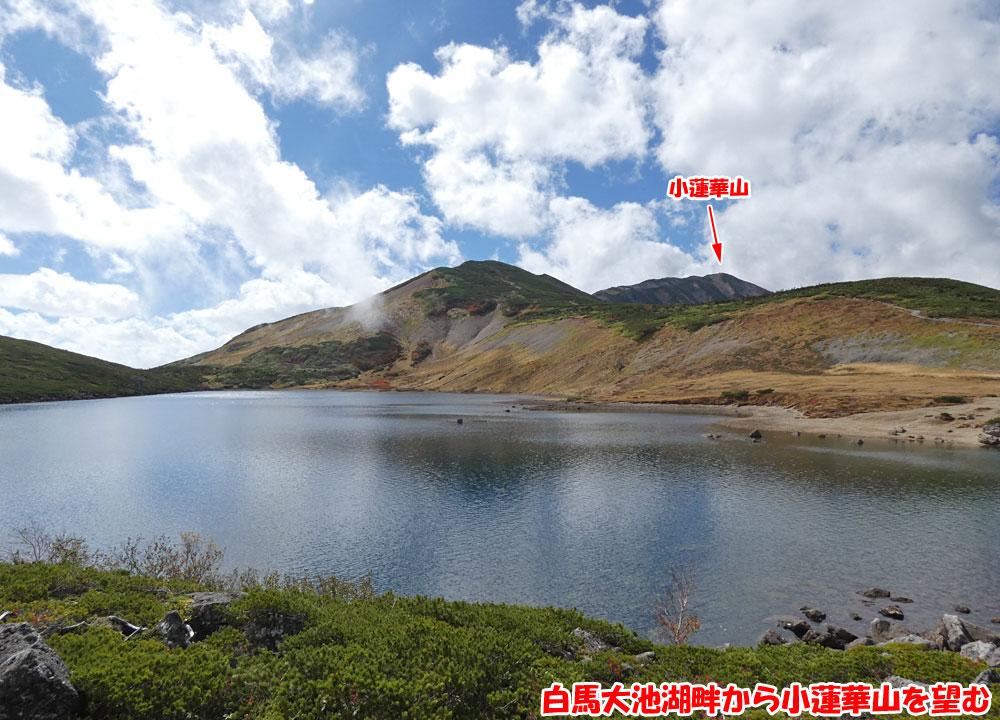 白馬大池湖畔から小蓮華山を望む